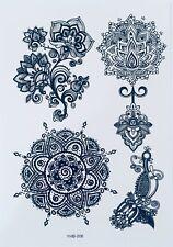 Black Henna Flash Temporary Tattoo Mandala Bindi Body Glitter Lotus Flower Ibiza