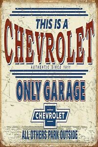 Chevrolet Only Parking Chevy Man Cave DECOR Metal Tin SIGN BAR Shop Garage 1911