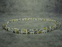 Vintage Czech Bohemian Long Aurora Borealis Faceted Glass Bead Necklace
