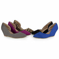 Journee Collection Womens Pointed Toe Faux Suede Classic D'orsay Wedges New