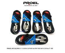 PROEL BULK250LU5 CAVO BILANCIATO MICROFONO CASSE CANNON XLR M/F SET 5 CAVI da 5m