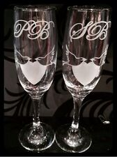 Personalised Initials Wedding Glass Champagne Flutes For Bride & Groom Love Bird