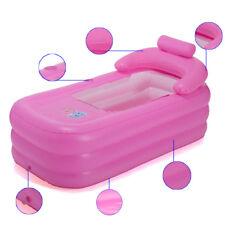Inflatable Blow up Adult Spa Pvc Folding Portable Bathtub Warm Bath Tub Pink Usa