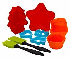 11 Piece Silicone Baking Biscuit Cake Moulder Shaper Children Kids Xmas Gift Set