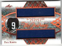 PAUL KARIYA 2019-20 Leaf In The Game Used THE JOURNEY Dual JERSEY #18/25