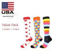 Compression Socks Stockings 3 Pairs Womens Men Knee High Medical 20-30 mmHG