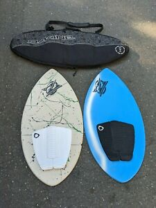 Lot of (2) vintage Zap Skim Boards with Dakine Carrying Bag