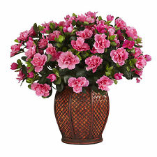 Azalea Silk Houseplant Nearly Natural in Vase Pink 6653 Artificial Decor 20 inch