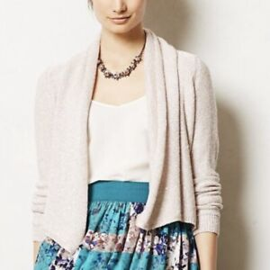 Anthropologie Knitted & Knotted Small Cardigan Pink Sequin Flurry S MSRP $98