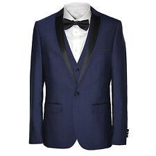 Men's Harry Brown 3 Piece Slim Fit Dinner Suit in Black/Indigo 544000193