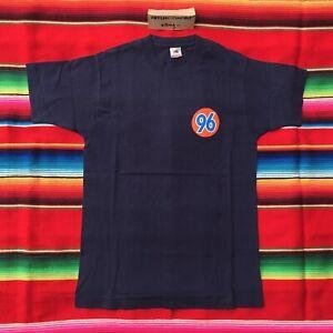 VTG 96 1996 auto logo parody navy tee t shirt adult M FOTL unocal 76 90's USA