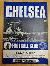 Chelsea v CSKA Sofia European Cup Winners Cup Football Programme 4th Nov 1970