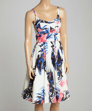 Size 12 Strappy Cotton Dress White & Blue Watercolor with Empire Waist BNWT T-72