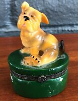 Ceramic Dog Pillbox with green base