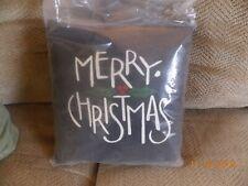 "Black Merry Christmas Pillow  10"" x 10"""