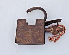 Vintage Old Retro Iron Lock with Key Antique Home Decor Iron Stripe Padlock