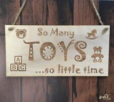 So Many Toys Kids Wooden Plaque Sign Laser Engraved pq81