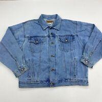 VTG Wrangler Hero Denim Trucker Jacket Men's Large Long Sleeve Light Blue Cotton