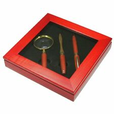 Rosewood Ballpoint , Letter Opener and Magnifying Glass Gift Set in Box - SALE