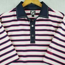 FOOTJOY Size XL Mens Golf Polo Shirt Blue Pink Striped Contrast Collar Placket