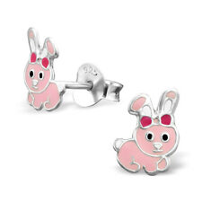 925 Sterling Silver Baby Pink Bunny Rabbit Bow Kids Girls Stud Earrings Gift