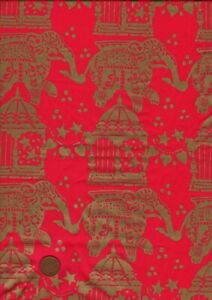 100% Silk Fabric Red with Printed Gold Elephants & Temples Craft Dressmaking