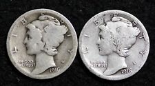 1916 P-S 2 COIN FULL SET MERCURY DIME / CIRCULATED GRADE GOOD / VERY GOOD