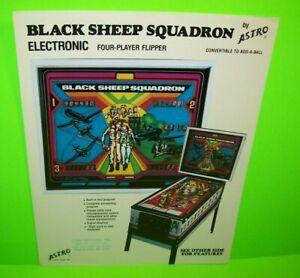 Black Sheep Squadron Pinball FLYER Original 1979 Game Sheet Airplane Wartime Art