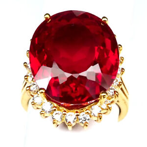 RUBY BLOOD RED OVAL 26.20 CT.SAPPHIRE 925 STERLING SILVER GOLD RING SZ 6.75 GIFT
