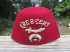 Vintage Shriners Cresent Fez Hat Embroidered with Gold Braid for sale