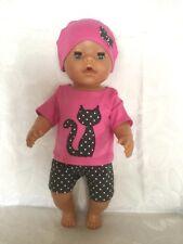 "Puppenkleidung, 3-teilig,.zB. für Baby Born 43 cm,Jako O Krümel,katze-pink ""NEU"""