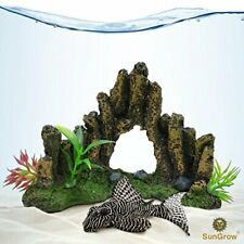 Decorative Aquarium Cave: Artificial Stone Decor for Fish Tanks,3 Plastic Plants