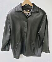 Vintage St John Black Leather Jacket Size Medium Button Front Womens