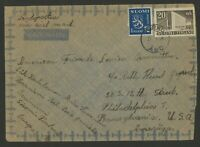 Finland Stamps Scott #248 & 262  on 1948 Cover  cancelled Turku (Abo) to Philly