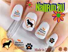 """RTG Set#132M DOG BREED """"German Shepherd MOM"""" WaterSlide Decals Nail Art Transfer"""