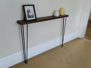 Solid Wood Narrow Hairpin Console Table - Various Sizes & Colours - Made in UK