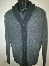Banana Republic Mens Medium Solid Gray Shawl Cardigan Sweater