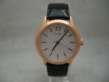 Authentic Guess W0922G6 Rose Gold Bezel Leather Black Bracelet Unisex Watch