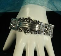 """MEXICO SIGNED Bracelet 60.4g STERLING Curved Panels BEADS SCROLLWORK 7"""" x 1.25"""""""