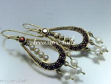 Vintage 9ct Solid Gold Natural GARNET, PEARL Chandelier DROP Earrings