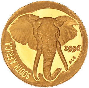 South Africa - Gold Rand Coin - 1/10 Oz. - 'Natura ~ Elephant' - 1996 - Proof