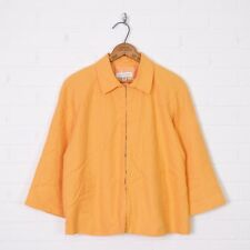 Coldwater Creek Orange Linen Blend Collar 3/4 Sleeve Lightweight Jacket Coat M