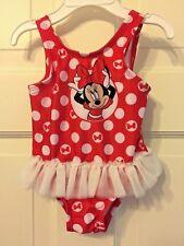 021e8da2fb Disney Baby Talla 3-6 meses Lunares Rojos Minnie Mouse Tutu Traje de baño de  una sola pieza