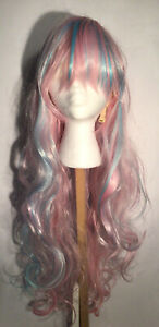long curl pink wig with baby blue highlights one size cap synthetic Mermaid