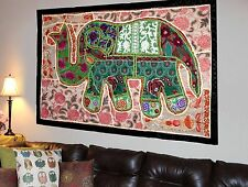 HANDMADE ELEPHANT BOHEMIAN PATCHWORK WALL HANGING EMBROIDERED TAPESTRY INDIA X34