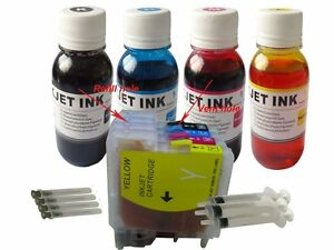 Refillable ink cartridge for Brother LC-61 LC-65  LC61 LC65 +4x100ml ND®