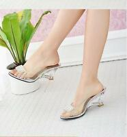 Hot Women Fashion Clear Wedge Heels PeepToe Party Dress Flip Sandals Shoes