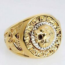 Lion Head Silver/Yellow Gold Plated Biker Adjustable Ring - Sizes 11 MUST SEE!!!