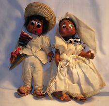 "Vintage 1970s Mexico Bride & Groom Souvenir Paper Mache Dolls 10"" Tall"