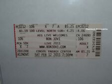 BON JOVI Complete MINT Concert Ticket 2011 PITTSBURGH Rare CONSOL ENERGY CENTER